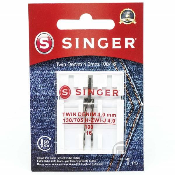 Zwillingsnadel 4,0 mm Jeans Stärke 100 SINGER