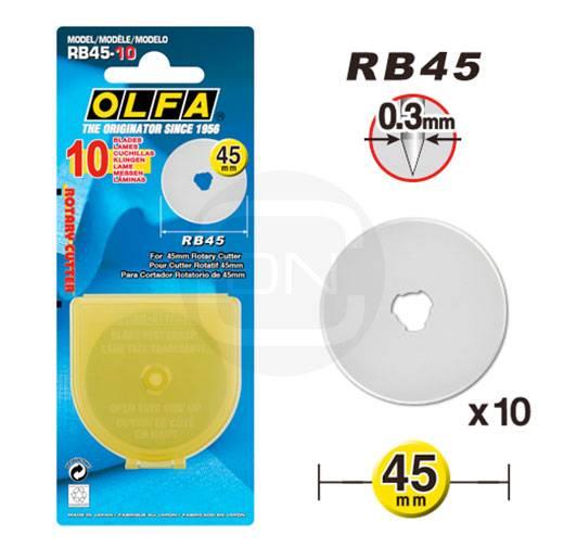 10 Ersatzklingen 45 mm Rollschneider OLFA