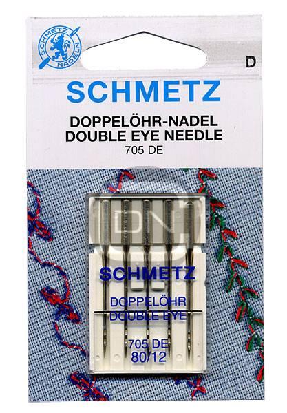 Doppelöhr Nadel Stärke 80, 5er Pack (Schmetz)