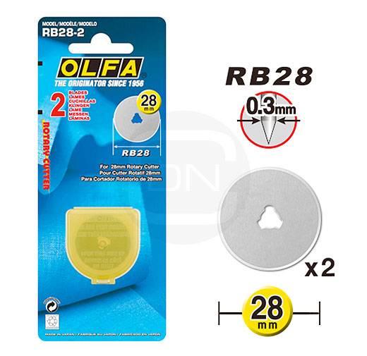 2 Ersatzklingen 28 mm Rollschneider OLFA