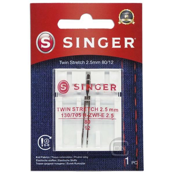 Zwillingsnadel 2,5 mm Stretch Stärke 80 SINGER